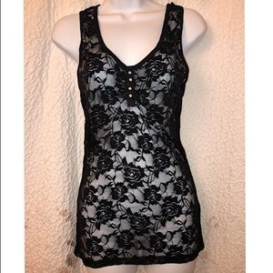 💎color Story black Lace sheer tank💎